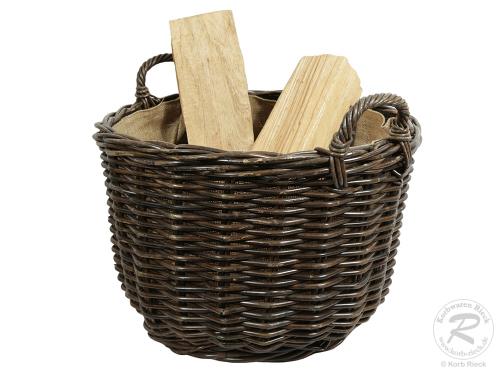 Holzkorb Korb Tragekorb aus Rohr gefüttert (D:50)