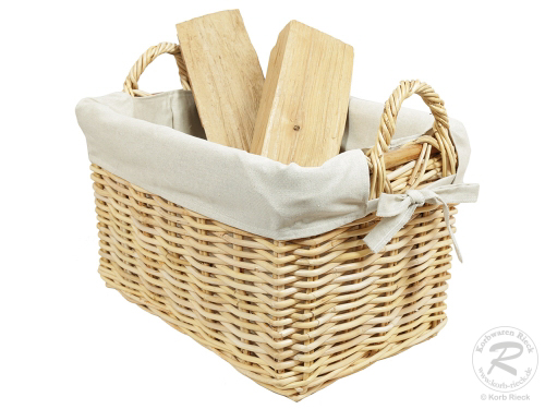 Holzkorb Korb Tragekorb aus Rohr gefüttert (50x36x30/37)
