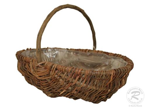 Handkorb mit Kunststofffolie Pflanzkorb Gartenkorb (33x23x22)