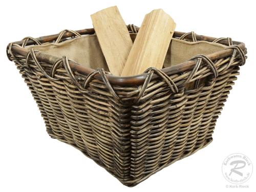 Holzkorb, Kaminholz Korb Tragekorb aus Rohr gefüttert (64x54x35)