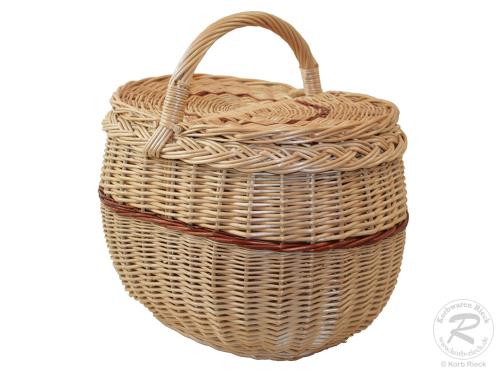 Einkaufskorb Handkorb Weide Korb mit Klappdeckel (37x27x38)