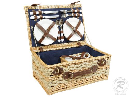 Picknickkorb für 4 Personen, Picknickkoffer aus Weide mit Klappdeckel