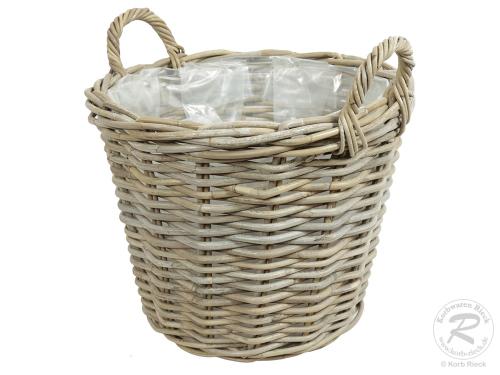 Pflanzkorb mit Kunststofffolie Gartenkorb aus Rohr (D:43cm)