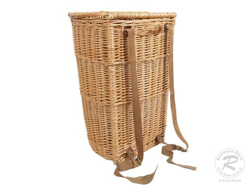 Tragekorb, Kiepe, Rucksackkorb aus gesottener Weide mit Deckel (44x38x58)