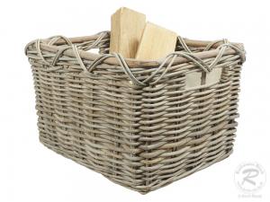 Holzkorb Korb Tragekorb aus Rohr gefüttert (56x45x34)