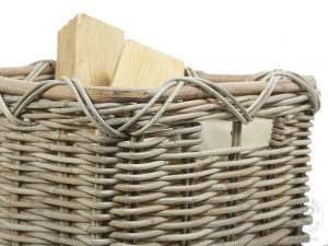 Holzkorb Korb Tragekorb aus Rohr gefüttert (57x48x35)