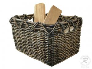 Holzkorb Korb Tragekorb aus Rohr gefüttert (56x47x34)