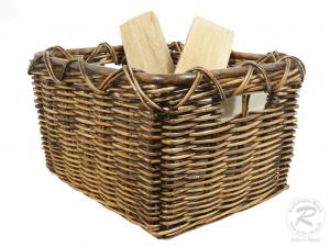 Holzkorb Korb Tragekorb aus Rohr gefüttert (57x47x34)