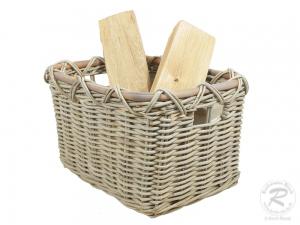 Holzkorb Korb Tragekorb aus Rohr gefüttert (45x36x31)