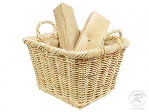 Holzkorb Korb Tragekorb aus Rohr gefüttert (47x40x30/38)