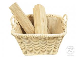 Holzkorb Korb Tragekorb aus Rohr gefüttert (48x38x30/38)