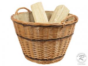 Holzkorb, Tragekorb, Korb gefüttert Größe 3 (D:55cm)