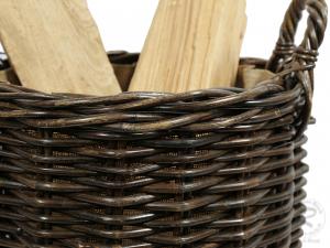 Holzkorb Korb Tragekorb aus Rohr gefüttert (D:42)
