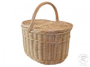 Einkaufskorb Handkorb Weide Korb mit Klappdeckel (41x28x44)  - Einzelstück