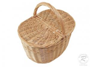 Einkaufskorb Handkorb Weide Korb mit Klappdeckel (42x28x27/42)