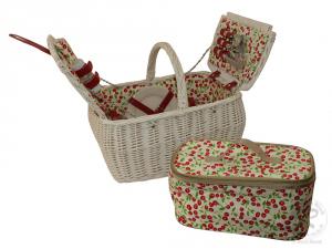 Picknickkorb für 2 Personen, Picknickkoffer aus Weide mit Deckel