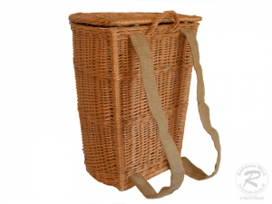 Tragekorb, Kiepe, Rucksackkorb aus Weide mit Deckel (48x38x56)
