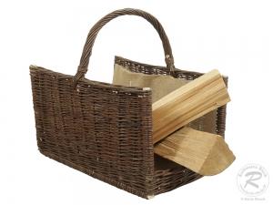 Holzkorb aus gesottener  Weide Korb gefüttert (52x35x30/50)