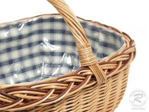 Einkaufskorb Handkorb Weide Korb gefüttert (53x40x32)