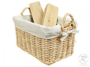 Holzkorb Korb Tragekorb aus Rohr gefüttert (53x39x37)