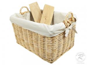 Holzkorb Korb Tragekorb aus Rohr gefüttert (60x46x35/45)