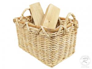 Holzkorb Korb Tragekorb aus Rohr für Kamin Holz ungefüttert (50x37x30/38)