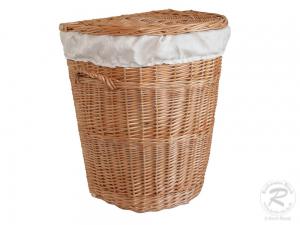 Wäschekorb gefüttert - Korb für Wäsche aus gesottener Weide (47x38x57)