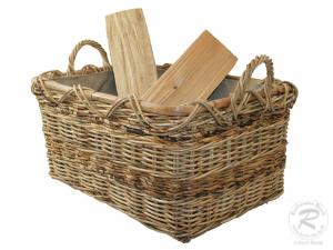 Holzkorb Korb Tragekorb aus Rohr gefüttert (57x42x36)