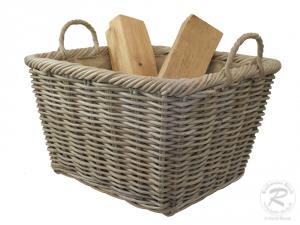 Holzkorb Korb Tragekorb aus Rohr gefüttert (59x47x34/41)