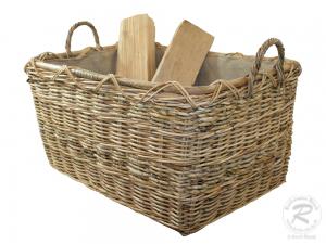 Holzkorb Korb Tragekorb aus Rohr gefüttert (67x50x34/43)