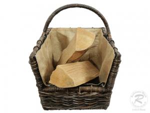 Holzkorb Korb Tragekorb aus Rohr gefüttert (50x39x47)