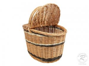 Einkaufskorb Handkorb Weide Korb mit Klappdeckel (33x25x35)