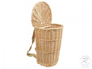 Tragekorb, Kiepe, Rucksackkorb aus Weide mit Deckel (33x28x55)