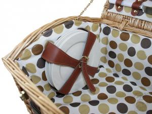 Picknickkorb für 4 Personen, Picknickkoffer aus Weide mit Deckel