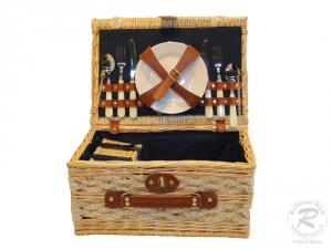 Picknickkorb für 2 Personen, Picknickkoffer aus Weide mit Klappdeckel