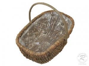 Handkorb mit Kunststofffolie Pflanzkorb Gartenkorb (32x22x13/26)