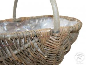 Handkorb mit Kunststofffolie Pflanzkorb Gartenkorb (27x17x10/21)