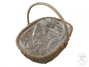 Handkorb mit Kunststofffolie Pflanzkorb Gartenkorb (39x28x15/31)