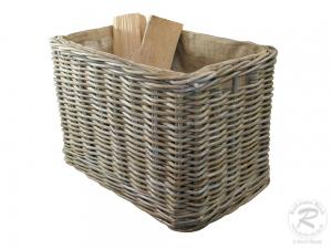 Holzkorb, Tragekorb aus Rohr gefüttert mit Rollen, sehr groß (70x42x45/50)