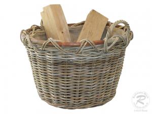 Holzkorb Korb Tragekorb aus Rohr gefüttert (D:56x40)