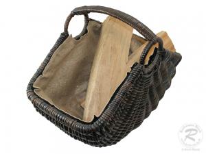 Holzkorb Korb Tragekorb aus Rohr gefüttert (60x36x47)