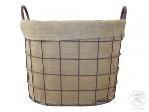 Anfeuerholzkorb kleiner moderner Tragekorb aus Drahtgeflecht (40x30x30/37)