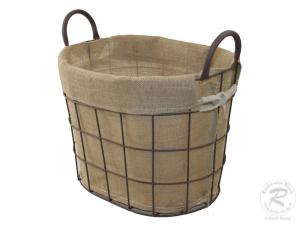 Anfeuerholzkorb kleiner moderner Tragekorb aus Drahtgeflecht (35x27x26/33)