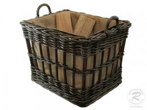 Holzkorb, Tragekorb aus Rohr gefüttert mit Rollen, sehr groß (66x51x58)