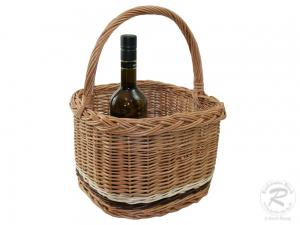 Flaschenkorb Korb für 4 Flaschen aus gesottener Weide (30x30x38)