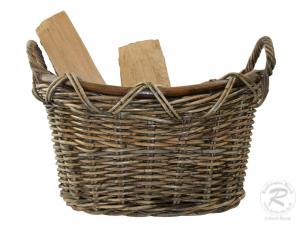 Holzkorb, Tragekorb, Kaminholzkorb Korb für Brennholz (52x44x37)