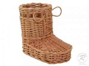 Korbstiefel, Stiefel aus Weide, kleiner Dekokorb aus Weide (15x10x14)