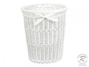 Wäschekorb gefüttert - Korb für Wäsche - weiß lackiert (51x41x63)