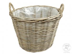 Pflanzkorb mit Kunststofffolie Gartenkorb aus Rohr (D:50cm)