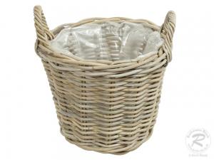 Pflanzkorb mit Kunststofffolie Gartenkorb aus Rohr (D:33cm)